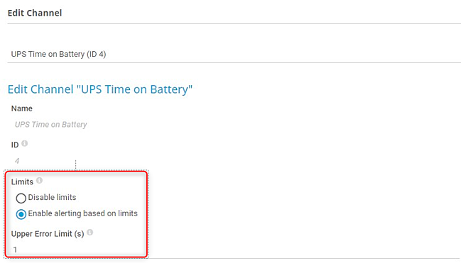 Sensor Channel UPS Time on Battery