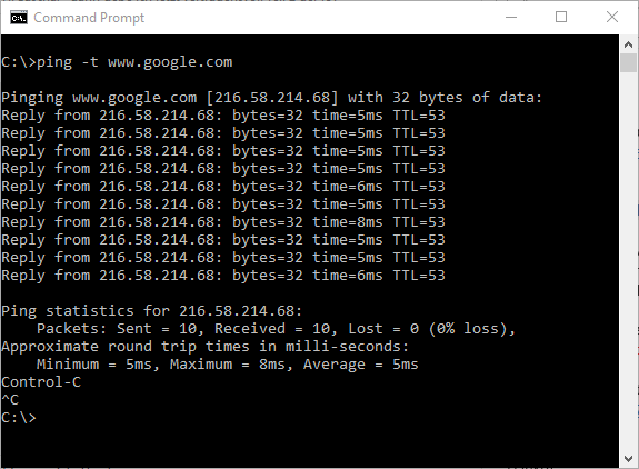 Continuously ping dialogue window for troubleshooting