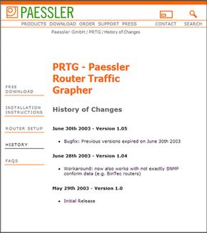 The Paessler Webpage in 2003