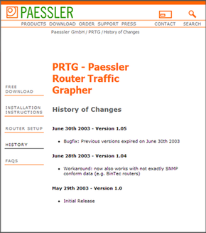 The Paessler Webpage in 2003