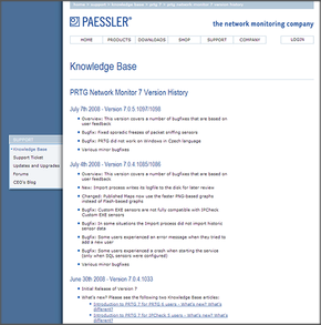 The Paessler Webpage in 2007