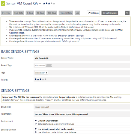 Additional information and a place to enter your credentials: the sensor settings