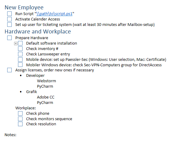 computer setup checklist template