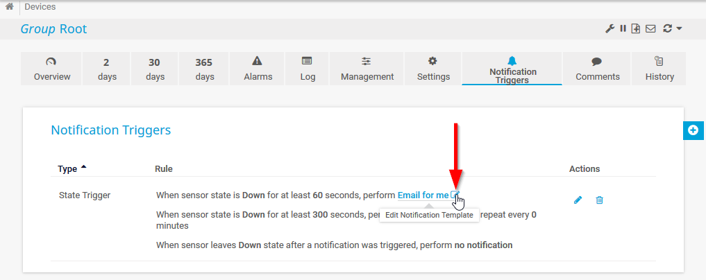 In-page edit of notification triggers in PRTG 18.4.45