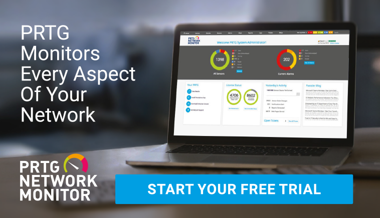PRTG  Monitors Every Aspect  Of Your  Network – Start Your Free Trial